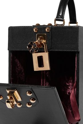 DOLCE & GABBANA Embellished lizard-effect leather champagne case