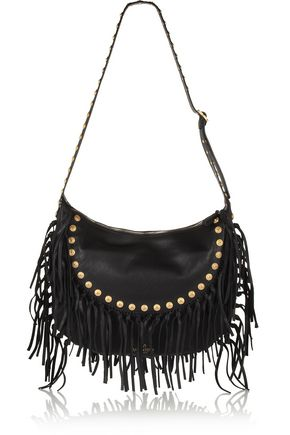 VALENTINO C-Rockee fringed textured-leather shoulder bag