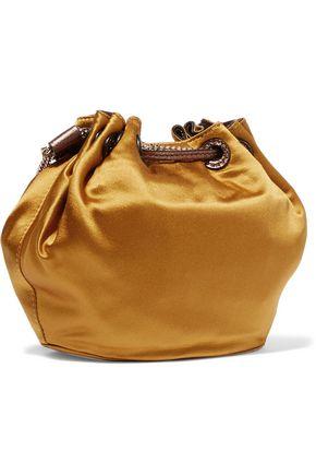 DIANE VON FURSTENBERG Love Power mini leather-trimmed satin bucket bag