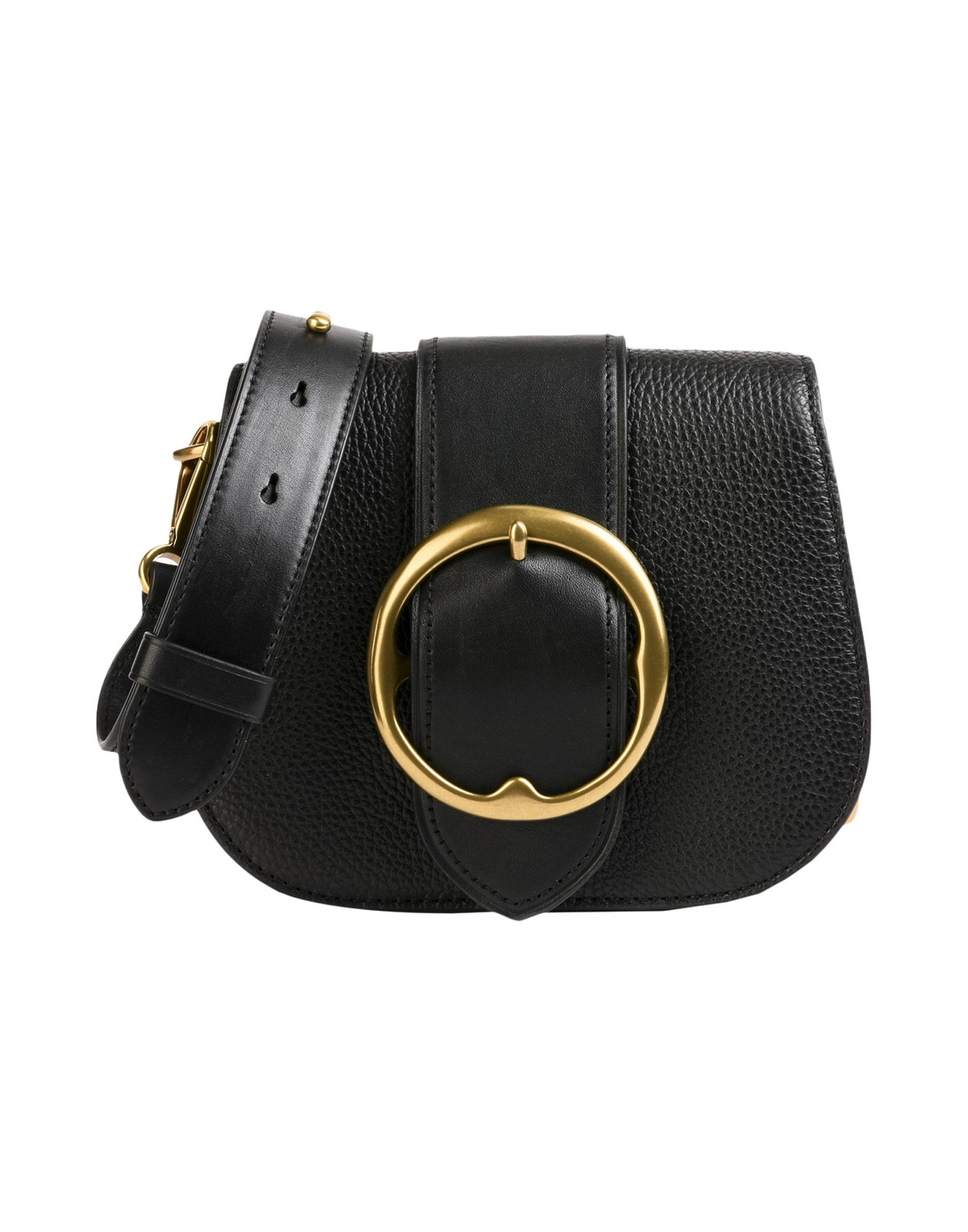 《送料無料》POLO RALPH LAUREN レディース メッセンジャーバッグ ブラック 牛革 100% Pebbled Leather/ Nappa Medium Bag