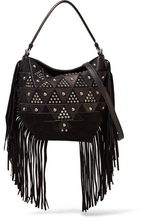 JÉRÔME DREYFUSS Mario fringed studded suede and leather shoulder bag