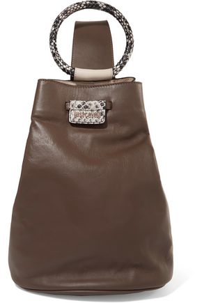 JUST CAVALLI Snake-effect and smooth leather shoulder bag