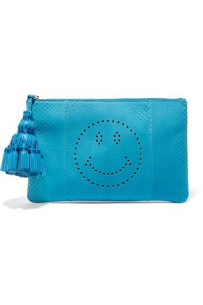 ANYA HINDMARCH Georgiana perforated python clutch