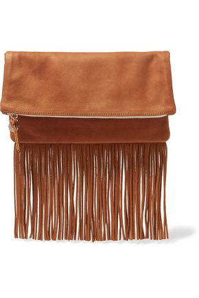 CLARE V. Maison fold-over fringed textured-leather clutch