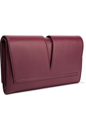 JIL SANDER Cutout textured-leather clutch