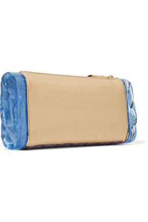 EDIE PARKER Soft Lara Luau embroidered raffia and acrylic box clutch