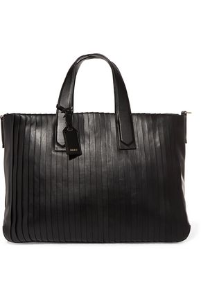 DKNY Striped-effect large leather tote bag