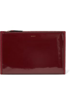 DKNY Paneled glossed and smooth leather clutch