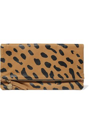 CLARE V. Fold-over leopard-print suede clutch