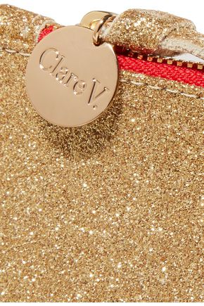 CLARE V. Margot metallic glittered leather clutch