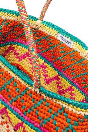 SENSI STUDIO Printed woven toquilla straw tote
