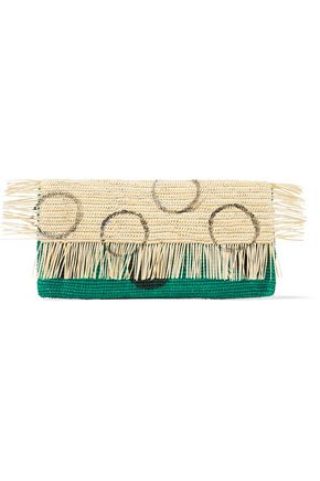 SENSI STUDIO Frayed coated toquilla straw clutch
