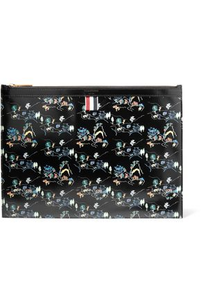 THOM BROWNE Printed glossed-leather pouch