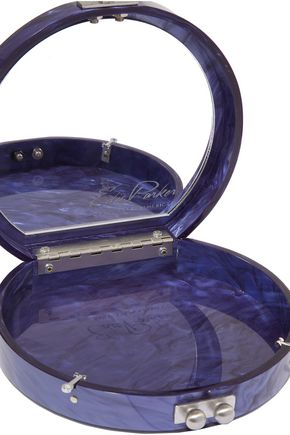 EDIE PARKER Oscar Ahoy mirrored marble-effect acrylic clutch