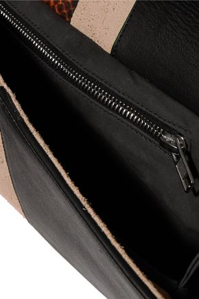 RICK OWENS Suede, snake-effect and smooth leather clutch