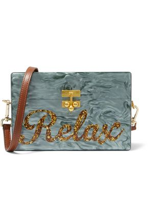 EDIE PARKER Relax glittered marble-effect acrylic box clutch