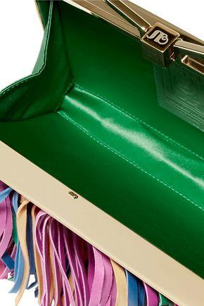 SARA BATTAGLIA Fringed metallic leather clutch