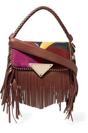 SARA BATTAGLIA Amber fringed studded suede and leather shoulder bag