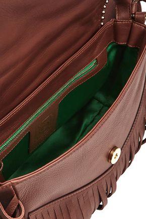 SARA BATTAGLIA Amber fringed studded suede and leather shoulder bag