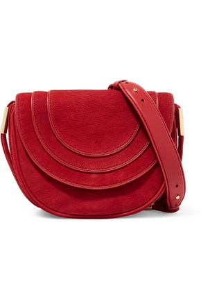 DIANE VON FURSTENBERG Leather-trimmed nubuck shoulder bag