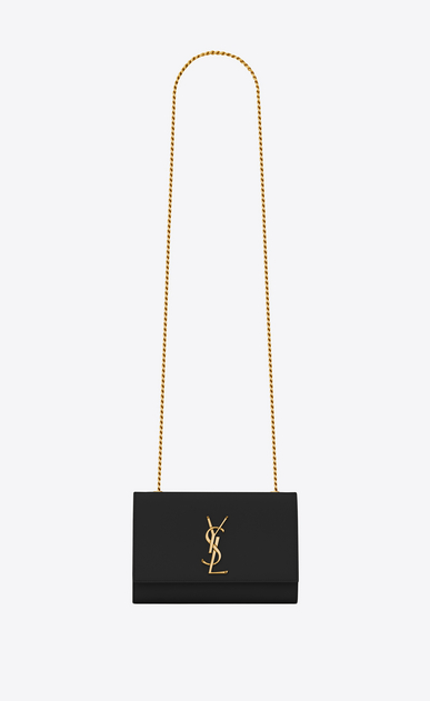 SAINT LAURENT MONOGRAM KATE Woman classic small kate chain bag in black textured leather a_V4