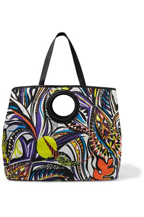 EMILIO PUCCI Leather-trimmed printed canvas shoulder bag