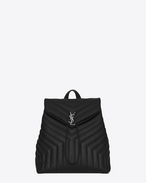 "SAINT LAURENT Monogramme Loulou D medium loulou monogram backpack in black ""y"" matelassé leather f"