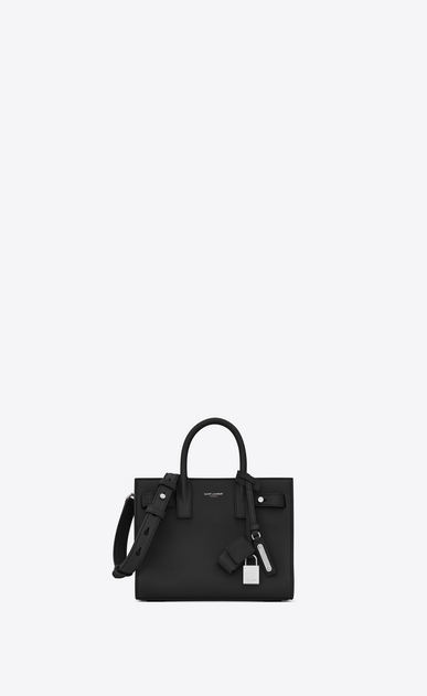 SAINT LAURENT Sac De Jour Supple D nano sac de jour souple bag in black grained leather a_V4