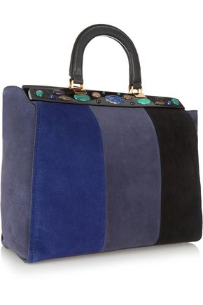 TORY BURCH Attersee embellished color-block suede tote