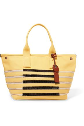 MARC BY MARC JACOBS Embellished striped cotton-canvas tote