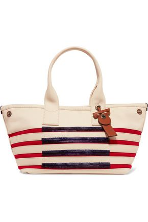 MARC BY MARC JACOBS Embellished striped cotton tote
