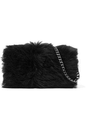 VIVIENNE WESTWOOD ANGLOMANIA Ela chain-trimmed faux fur and patent-leather shoulder bag