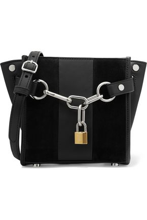 ALEXANDER WANG Attica paneled velvet and leather shoulder bag