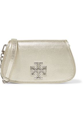 TORY BURCH Britten mini metallic textured-leather shoulder bag