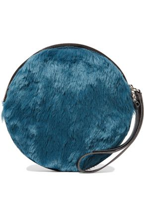 MM6 by MAISON MARGIELA Faux leather-trimmed faux fur clutch