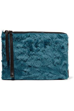 MM6 by MAISON MARGIELA Leather-trimmed faux fur clutch