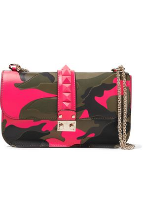 VALENTINO Rockstud printed neon canvas and leather shoulder bag