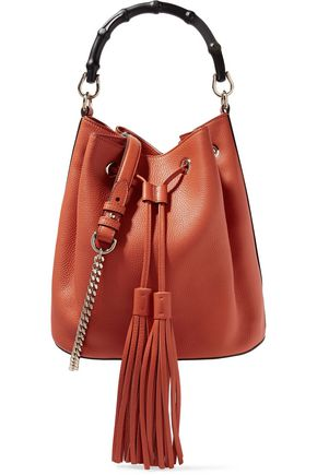 GUCCI Bamboo-trimmed textured-leather shoulder bag