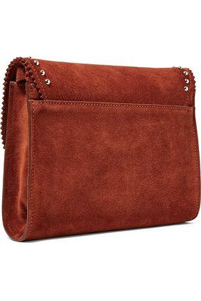 SANDRO Adel studded suede shoulder bag