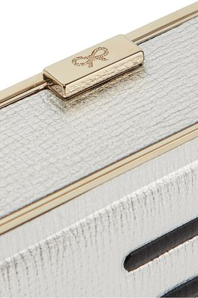 ANYA HINDMARCH Imperial Iron metallic embossed textured-leather box clutch