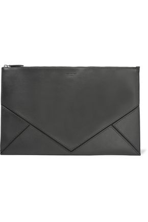 GIVENCHY Suede-trimmed leather pouch