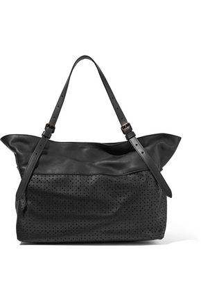 TOMAS MAIER Paneled smooth and laser-cut leather tote