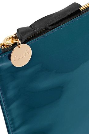 CLARE V. Margo patent-leather clutch
