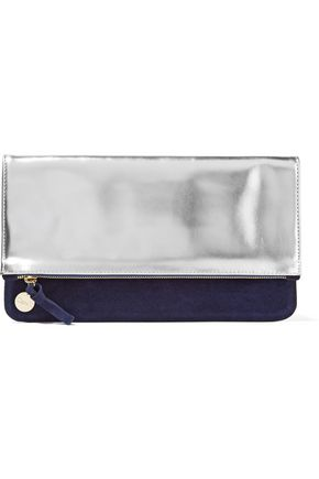 CLARE V. Margot fold-over paneled metallic patent-leather and suede clutch