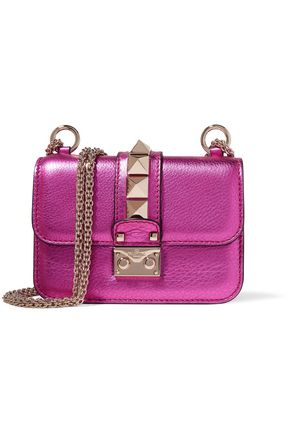 VALENTINO Glam Rock studded metallic textured-leather shoulder bag