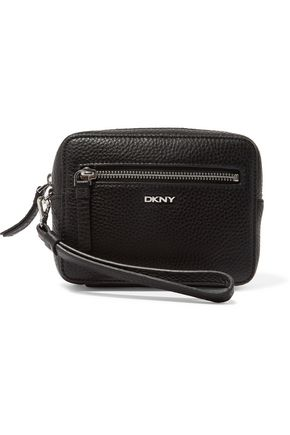 DKNY Textured-leather clutch