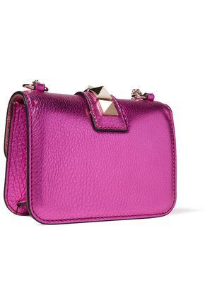 VALENTINO Glam Rock studded metallic textured-leather shoulder bag