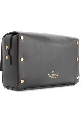 VALENTINO Buckled embellished leather shoulder bag