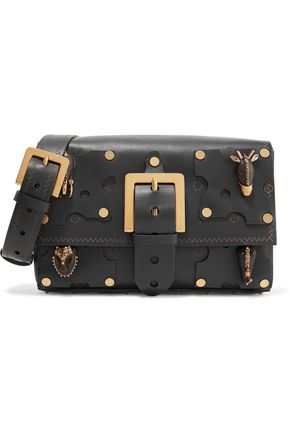 VALENTINO Buckled embellished leather shoulder bag