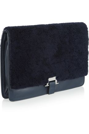 SANDRO Adyl shearling and leather clutch